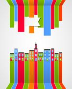 The coloured abstract houses are presented as continuation of lines - stock illustration