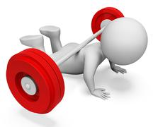 Weak Gym Indicates Bar Bell And Barbell 3d Rendering Stock Illustration