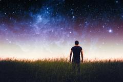 Man silhouette . Elements of this image furnished by NASA - stock photo