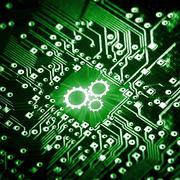 Gears icon on computer chip Kuvituskuvat
