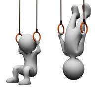 Exercise Characters Shows Physical Activity And Equipment 3d Rendering - stock illustration