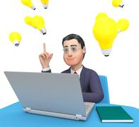 Character Laptop Means World Wide Web And Business 3d Rendering - stock illustration
