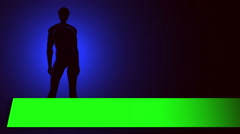 Male form in silhouette with green screen text banner lower thirds Stock Footage