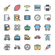 Networking, Web, User Interface and Internet Colored Vector Icons - stock illustration
