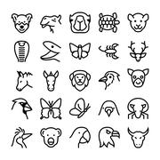 Animals and Birds Line Icons Set Piirros