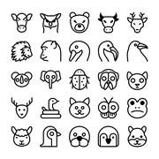 Animals and Birds Line Vector Icons Set Piirros