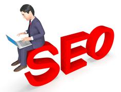Character Seo Means Business Person And Executive 3d Rendering Stock Illustration