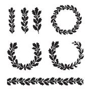 Silhouette oak wreaths in different  shapes Stock Illustration