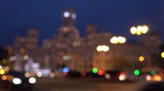4K Blurred traffic light Madrid downtown unfocused Cybele Palace building design Stock Footage
