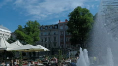 Dandelion Fountain in central Stockholm - maskrosbollen. Slow Motion water. - stock footage