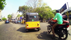 Rickshaw POV traffic Stock Footage