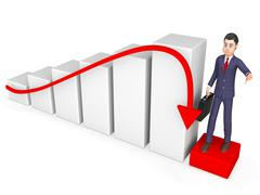 Graph Businessman Indicates Lack Of Success And Accounting 3d Rendering Stock Illustration
