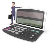 Calculator Businessman Indicates Entrepreneur Earnings And Figures 3d Renderi - stock illustration