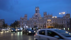4K Traffic car Alcala Gate Cybele Palace Madrid city center commuter transport  Stock Footage