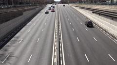 4K Aerial view traffic car multiple lane freeway Madrid suburban area transport  Stock Footage