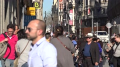 4K Crowded sidewalk commuter people rush hour Madrid downtown travel day emblem  Stock Footage