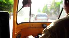 Rickshaw driver in South East Asia Stock Footage