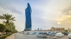 Al Tijaria Tower in Kuwait City timelapse hyperlapse. Kuwait, Middle East Stock Footage