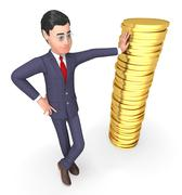 Coins Finance Means Business Person And Currency 3d Rendering - stock illustration