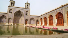 In iran fountain and old antique mosque Stock Footage