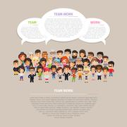 Team Work Poster with People - stock illustration