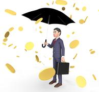 Businessman Profits Means Currency Wealthy And Entrepreneurs 3d Rendering Stock Illustration