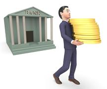 Bank Cash Represents Business Person And Executive 3d Rendering - stock illustration