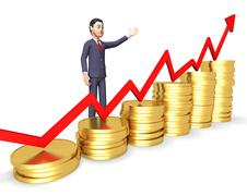 Profits Businessman Means Winner Victory And Earning 3d Rendering - stock illustration