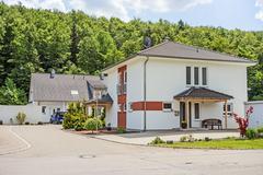 Custom built house, street view - stock photo