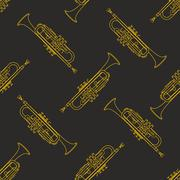 Classical music instruments seamless pattern. Piirros