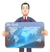 Credit Card Represents Business Person And Bankrupt 3d Rendering Stock Illustration
