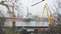 Cargo cranes in the seaport and railcars. Odessa. Ukraine. Stock Footage