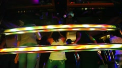 Disco music dancing party at the nightclub with the Disk Jokey Stock Footage