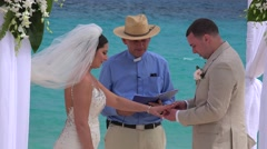 Wedding ceremony at Bermuda public beach. Stock Footage