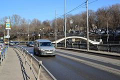 Moscow, Russia - March 10.2016. Syromyatnicheskaya Quay and Customs Bridge - stock photo