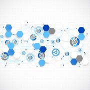Abstract geometry blue color technology background. Stock Illustration