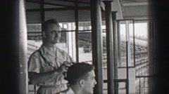 1938: Hialeah Park horse racetrack men tour empty epic stadium structure. Stock Footage