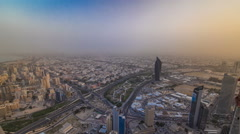 Kuwait City cityscape timelapse is the capital of Kuwait. Sunset time Stock Footage