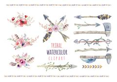 Watercolor colorful ethnic set of arrows  and flowers in native Stock Illustration