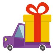 Delivery flat transport truck, van with gift box pack on white Stock Illustration