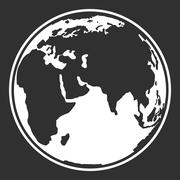 Earth planet globe web and mobile icon in black and white - stock illustration