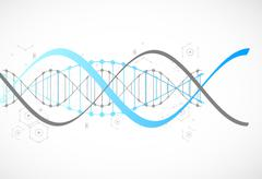 Science template, blue wallpaper or banner with a DNA molecules. - stock illustration
