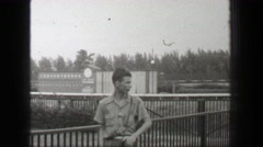 1938: Hialeah Park horse racetrack young student inspecting impressive sports Stock Footage