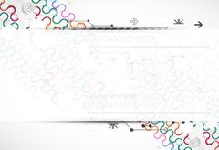 Abstract technological arc background with various technological elements. - stock illustration