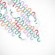 Abstract technological arc background with various technological elements. Stock Illustration