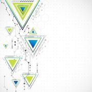 Abstract technology triangle background. - stock illustration
