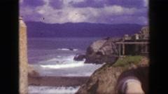 1939: Cliff house sutro baths ocean waves crashing on seal rocks beach. SAN Stock Footage