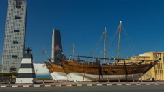 Historic dhow ships timelapse hyperlapseat the Maritime Museum of in Kuwait Stock Footage