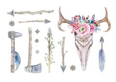 Watercolor  skull with flowers , tomahawks, arrows and feathers - stock illustration