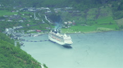 Large cruise ship port , high point of view Stock Footage